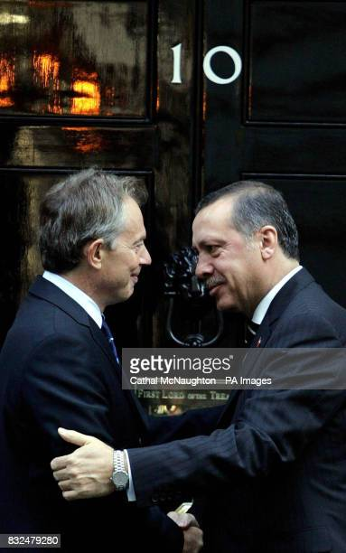 Britain's Prime Minister Tony Blair meets his Turkish counterpart Recep Tayyip Erdogan in Downing street London