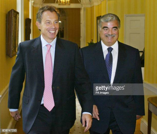 Britain's Prime Minister Tony Blair meets Lebanese Prime Minister Rafiq Hariri at 10 Downing Street London to discuss the Middle East peace process