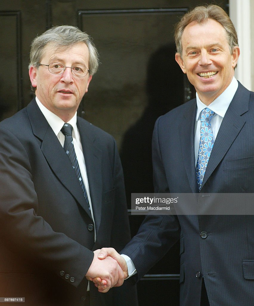 Britain's Prime Minister <a gi-track='captionPersonalityLinkClicked' href=/galleries/search?phrase=Tony+Blair&family=editorial&specificpeople=118622 ng-click='$event.stopPropagation()'>Tony Blair</a> (right) meets with Luxembourg's Prime Minister and Finance Minister <a gi-track='captionPersonalityLinkClicked' href=/galleries/search?phrase=Jean-Claude+Juncker&family=editorial&specificpeople=207032 ng-click='$event.stopPropagation()'>Jean-Claude Juncker</a> (left) in Downing Street, London, April 19, 2004.