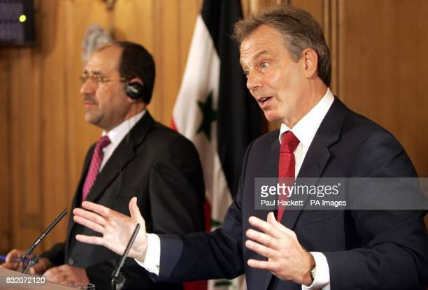 Britain's Prime Minister Tony Blair speaks as Iraq's Prime Minister Nouri alMaliki listens during a news conference at 10 Downing Street London
