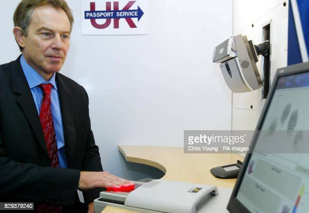 Britain's Prime Minister Tony Blair undertakes a Biometric test at the Passport Office in central London The Prime Minister visited the Passport...