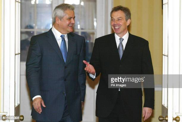 Britain's Prime Minister Tony Blair with Romanian Prime Minister Adrian Nastase at No10 Downing Street London * Mr Blair today warned France and...