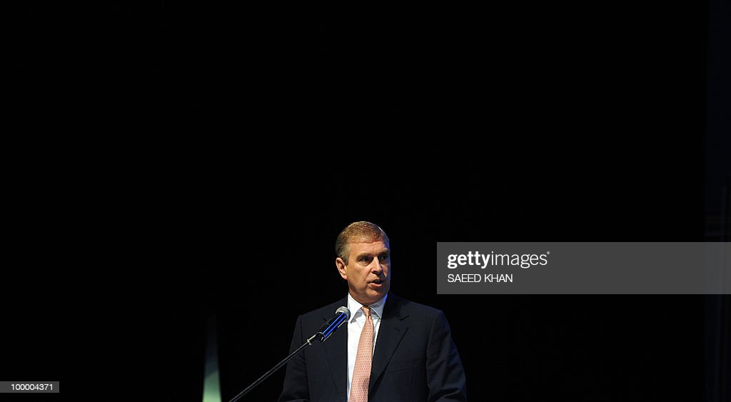 Britain's Prince Andrew addresses delega