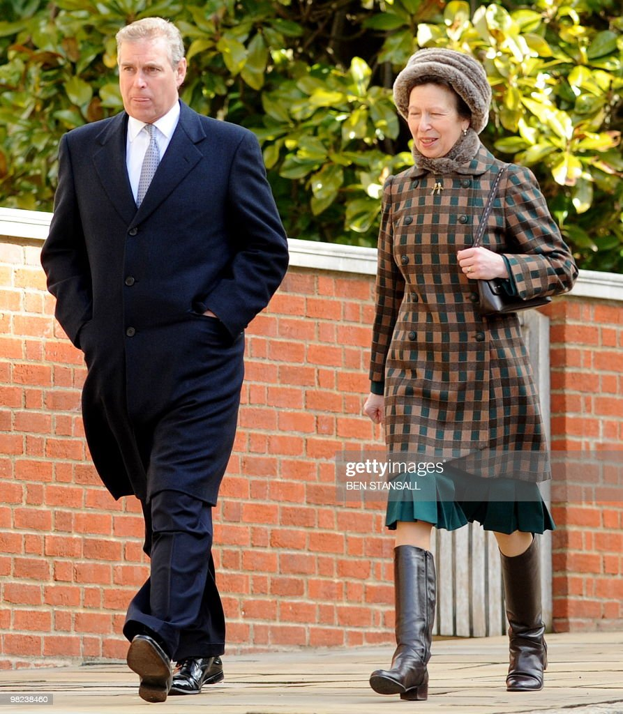 Britain's Prince Andrew (L), The Duke of York and Princess Anne (R) leave after an Easter Sunday church service in Windsor on April 4, 2019.