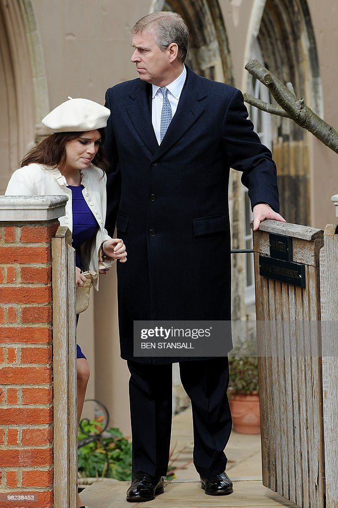 Britains Prince Andrew (R), The Duke of York and Princess Eugenie (L) leave an Easter Sunday church service in Windsor on April 4, 2019.