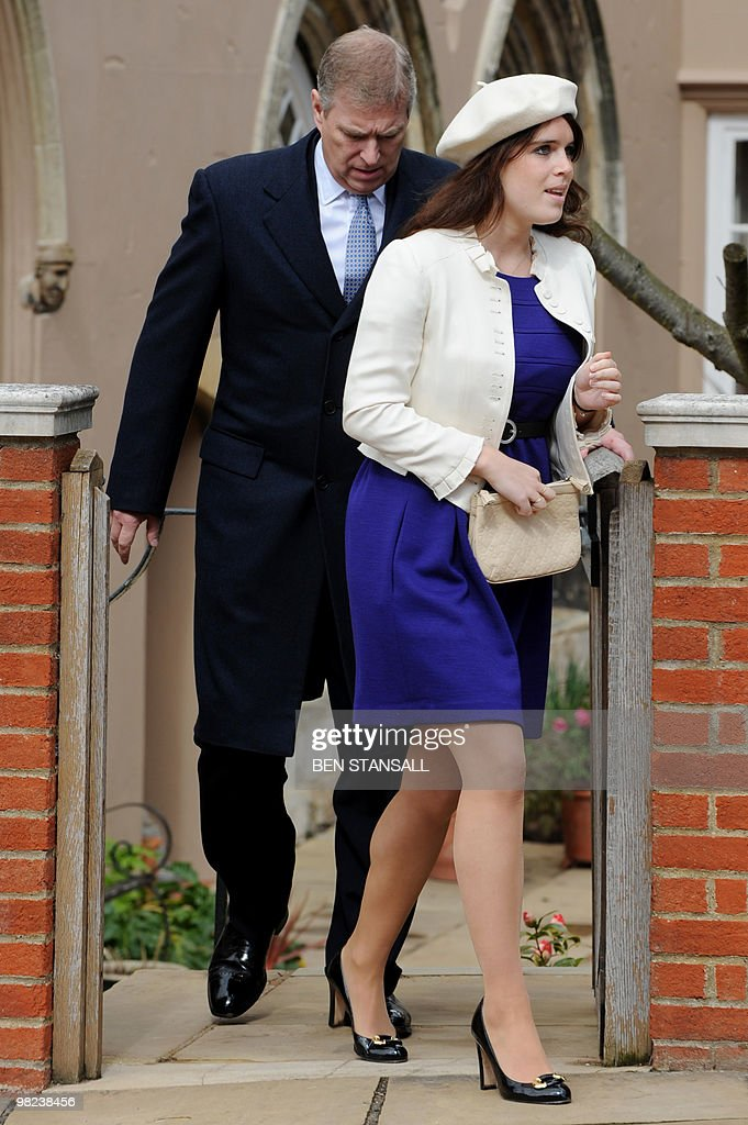 Britain's Prince Andrew (L), The Duke of York and Princess Eugenie (R) leave after attending an Easter Sunday church service in Windsor on April 4, 2019.
