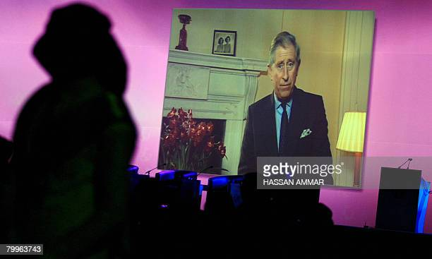 Britain's Prince Charles addresses the Jeddah Economic Forum through a video message in the Red Sea port city of Jeddah on February 24 2008 The forum...