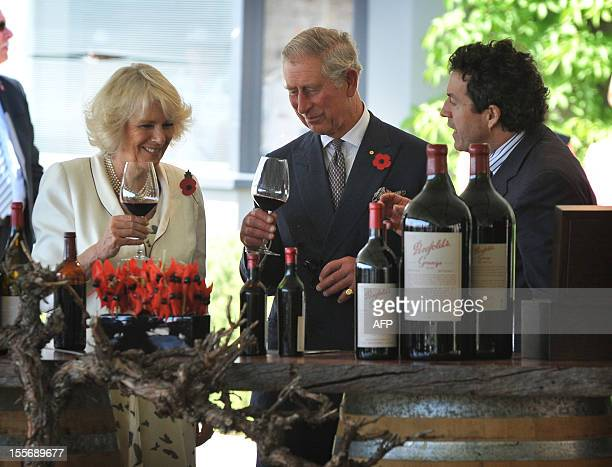 Britain's Prince Charles and his wife Camilla taste the Penfold Grange wine with chief winemaker Peter Gago during a tour of the Penfolds Magill...