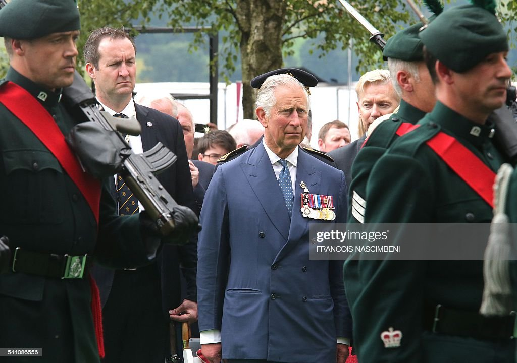 Britain's Prince Charles attends the commemoration of the 100th anniversary of the Battle of the Somme at Ulster Tower in Thiepval on July 1, 2016. / AFP / FRANCOIS
