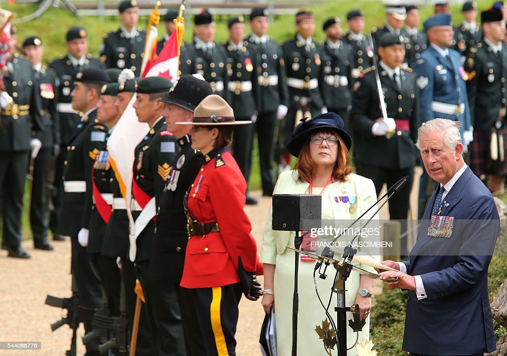 Britain's Prince Charles delivers a speech during the commemoration of the 100th anniversary of the Battle of the Somme at Terre-Neuvien cemetery in Beaumont-Hamel on July 1, 2016. / AFP / FRANCOIS