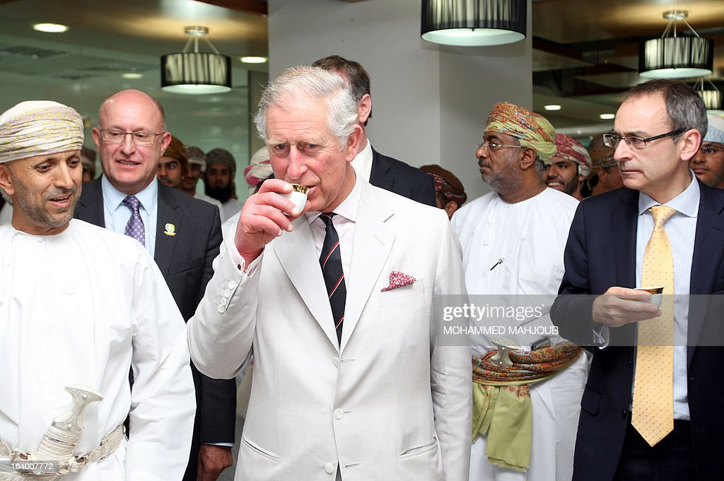 Britain's Prince Charles, is sips traditional Arabic coffee during his visit to the Knowledge Oasis in Muscat, a technology park dedicated to supporting technology-orientated and start-up businesses, on March 19, 2013. The Prince of Wales and his wife Camilla are visiting Oman, the last county on their Middle East tour.