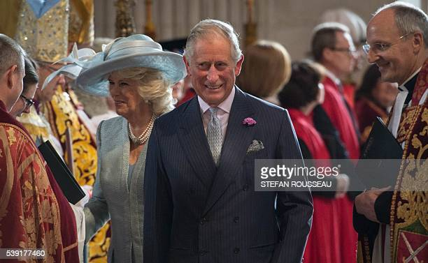 Britain's Prince Charles Prince of Wales and Britain's Camilla Duchess of Cornwall arrive to attend a national service of thanksgiving for the 90th...