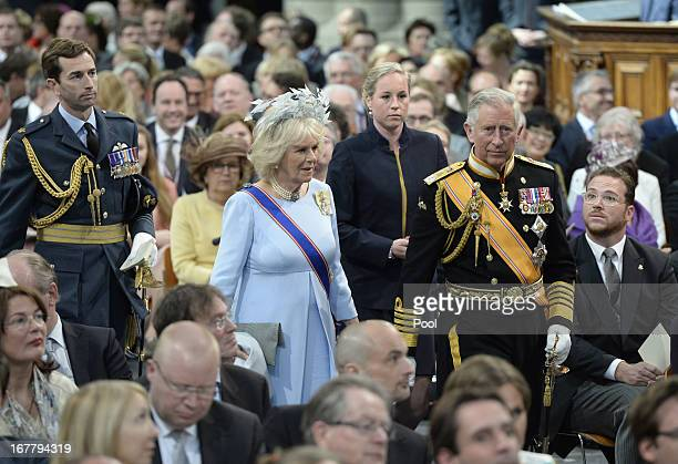 Britain's Prince Charles Prince of Wales and Camilla Duchess of Cornwall arrive to attend the inauguration of HM King Willem Alexander of the...