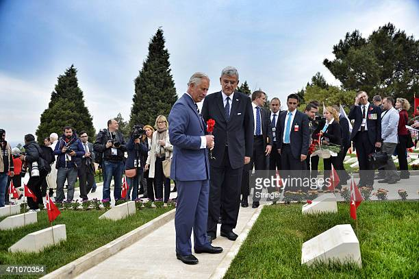 Britain's Prince Charles Prince of Wales and Turkey's EU affairs minister Volkan Bozkir attends a ceremony at the Turkish 57th Regiment Memorial to...