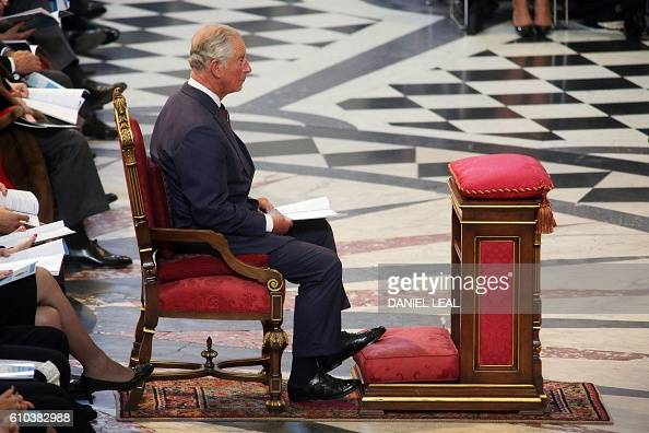Britain's Prince Charles Prince of Wales attends the National Police Memorial Day Service at St Paul's Cathedral in London on September 25 2016 The...