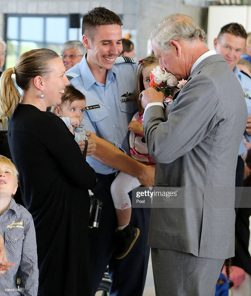 Britain's <a gi-track='captionPersonalityLinkClicked' href=/galleries/search?phrase=Prince+Charles&family=editorial&specificpeople=160180 ng-click='$event.stopPropagation()'>Prince Charles</a>, Prince of Wales (R) speaks to New Zealand Air Force staff and families during a visit to Ohakea Air Base on November 15, 2012 in Manawatu, New Zealand. Britain's <a gi-track='captionPersonalityLinkClicked' href=/galleries/search?phrase=Prince+Charles&family=editorial&specificpeople=160180 ng-click='$event.stopPropagation()'>Prince Charles</a> and his wife Camilla are in New Zealand on the last leg of a Diamond Jubilee Tour that takes in Papua New Guinea, Australia and New Zealand.