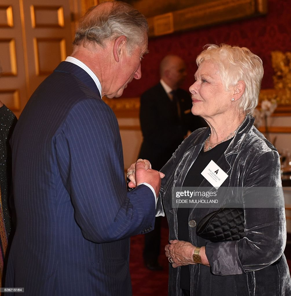 Britain's Prince Charles, Prince of Wales speaks with British actress Judi Dench (R) at a reception for British Oscar Winners in central London on May 4, 2016. The Oscars represent excellence in filmmaking and it is a testament to the talent in the United Kingdom that more than��300��British artists and filmmakers have earned this��honour. / AFP / POOL / Eddie Mulholland