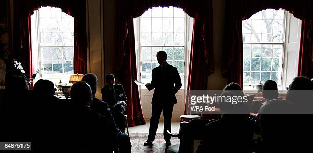 Britain's Prince Charles Prince of Wales the patron of the The Cambridge University Programme for Sustainability Leadership addresses representatives...