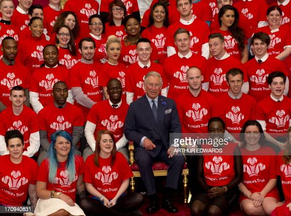 Britain's Prince Charles Prince of Wales the president of The Princes Trust hosts a reception for Princes Trust Job Ambassadors Young Ambassadors and...