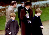 Britain's Prince Charles Princess Diana and their sons William and Harry leave the church of St Mary Magdalen near Sandrigham House 25 December Diana...