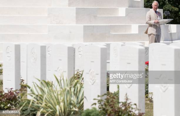 Britain's Prince Charles speaks at the Tyne Cot Commonwealth War Graves Cemetery in Zonnebeke on July 31 as part of a series of commemorations for...
