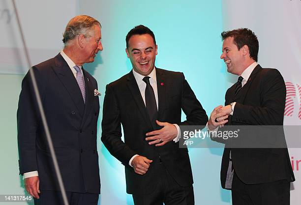 Britain's Prince Charles speaks with Anthony McPartlin and Declan Donnelly known collectively as Ant and Dec during The Prince's Trust and L'Oreal...