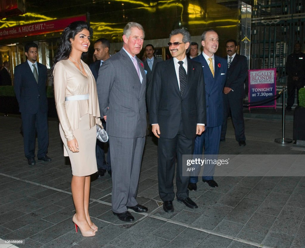 Britain�s Prince Charles (2rL) speaks with hotel owner Prince Alwaleed Bin Talal (3rd L) and his wife Princess Amira (1stL) during a tour at the official re-opening of the Savoy Hotel in London, on November 2, 2010. London's first luxury hotel, which hosted luminairies from Marlene Dietrich to Claude Monet, has been renovated from top to bottom in a mammoth project costing 220 million pounds (250 million euros, 350 million dollars).