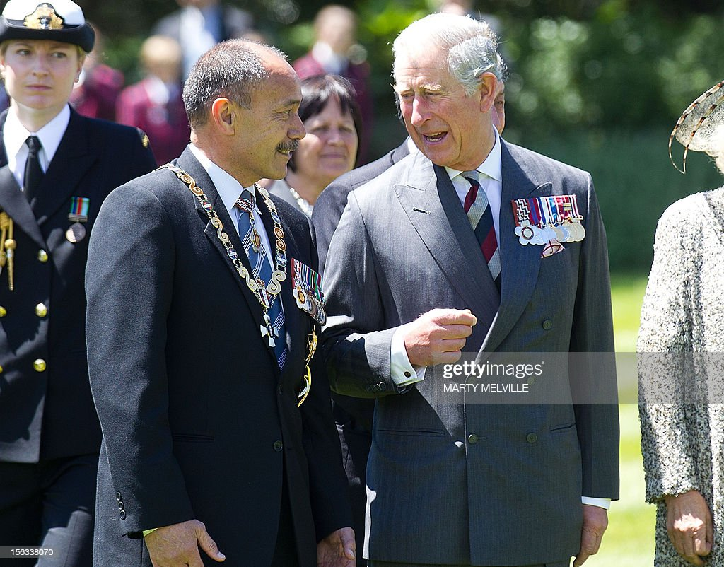 Britain's Prince Charles (L) talks to Governor General of New Zealand Lt General Rt Hon Sir Jerry Mateparae during a welcoming ceremony at Government House in Wellington on November 14, 2012. The Royal couple are in New Zealand on the last leg of a Diamond Jubilee that takes in Papua New Guinea, Australia and New Zealand. AFP PHOTO / Marty Melville
