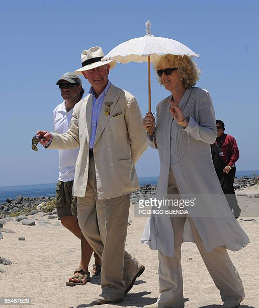 Britain's Prince Charles talks with his wife Camilla Parker Bowles Duchess of Cornwall during a visit to Seymour island on March 17 2009 The British...