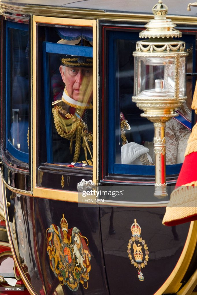Britain's Prince Charles, The Prince of Wales leaves Buckingham Palace in central London ahead of the State Opening of Parliament on May 8, 2013. Prince Charles was set to attend the state opening of Britain's parliament alongside his mother Queen Elizabeth II, in a sign of his increasing role as his the 87-year-old monarch scales back some duties. The appearance comes a day after Buckingham Palace announced that Charles, the Prince of Wales, will represent his mother at the next Commonwealth heads of government meeting, a gathering she has only missed once in four decades. AFP PHOTO/Leon Neal