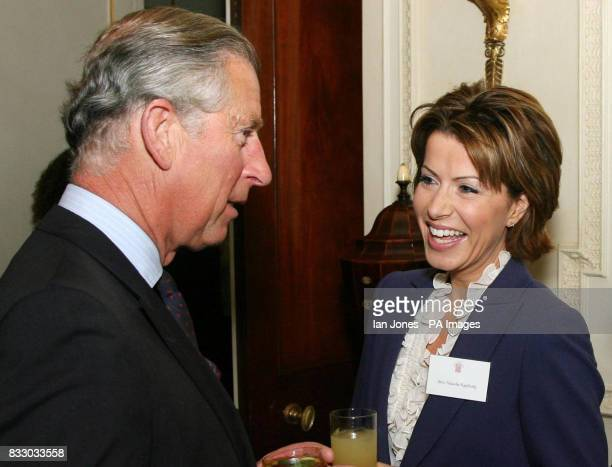 Britain's Prince Charles the Prince of Wales speaks to BBC television presenter Natasha Kaplinsky during a reception for the Royal Television Society...