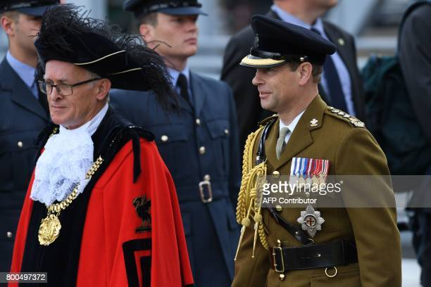 Britain's Prince Edward Earl of Wessex arrives to watch a parade of military personnel to mark Armed Forces Day in Liverpool northern England on June...