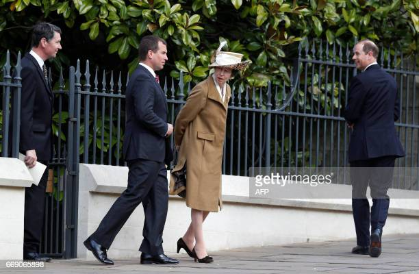 Britain's Prince Edward Earl of Wessex Britain's Princess Anne Princess and her husband Royal Vice Admiral Timothy Laurence leave the Easter Sunday...