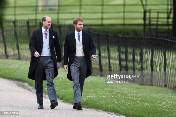 TOPSHOT Britain's Prince Harry and Britain's Prince William Duke of Cambridge walk to the church for the wedding of Pippa Middleton and James...
