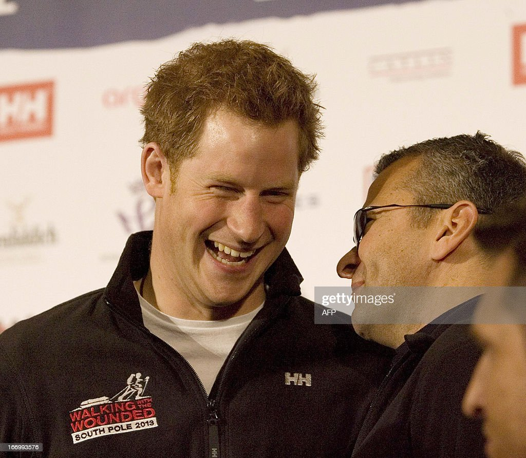 Britain's Prince Harry attends the launch of Walking with the Wounded South Pole Allied Challenge in London on April 19, 2013. The Walking with the Wounded South Pole Allied Challenge involves three teams of wounded servicemen and women from the UK, US and Commonwealth (Australia and Canada) racing acrossthe Antarctic to the geographic South Pole. The wounded service personnel all have either physical or cognitive injuries sustained in the line of duty and will represent and raise funds for military charities from the constituent nations.