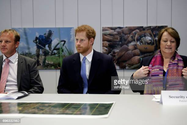 Britain's Prince Harry centre takes part in a roundtable scenario exercise for 'Effective landmine clearance in a humanitarian emergency' during his...