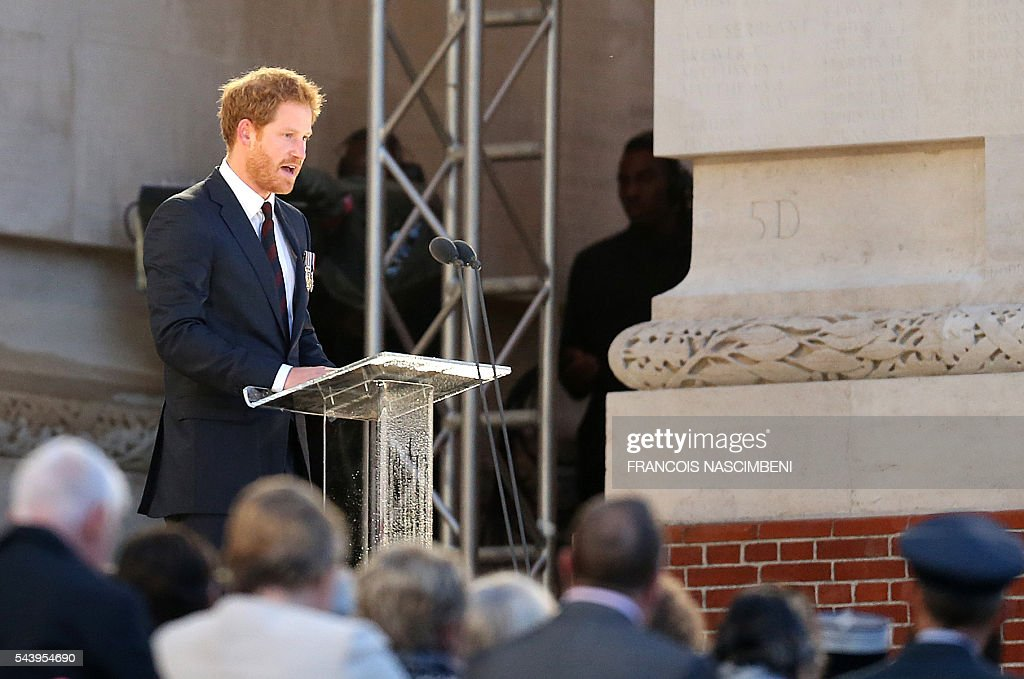 Britain's Prince Harry delivers a speech during the commemoration of the 100th anniversary of the Battle of the Somme, the deadliest battle in British history in which 20,000 men died on the first day of combat alone, on June 30, 2016 at the Thiepval Memorial, northern France. / AFP / FRANCOIS
