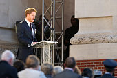 Britain's Prince Harry delivers a speech during the commemoration of the 100th anniversary of the Battle of the Somme the deadliest battle in British...