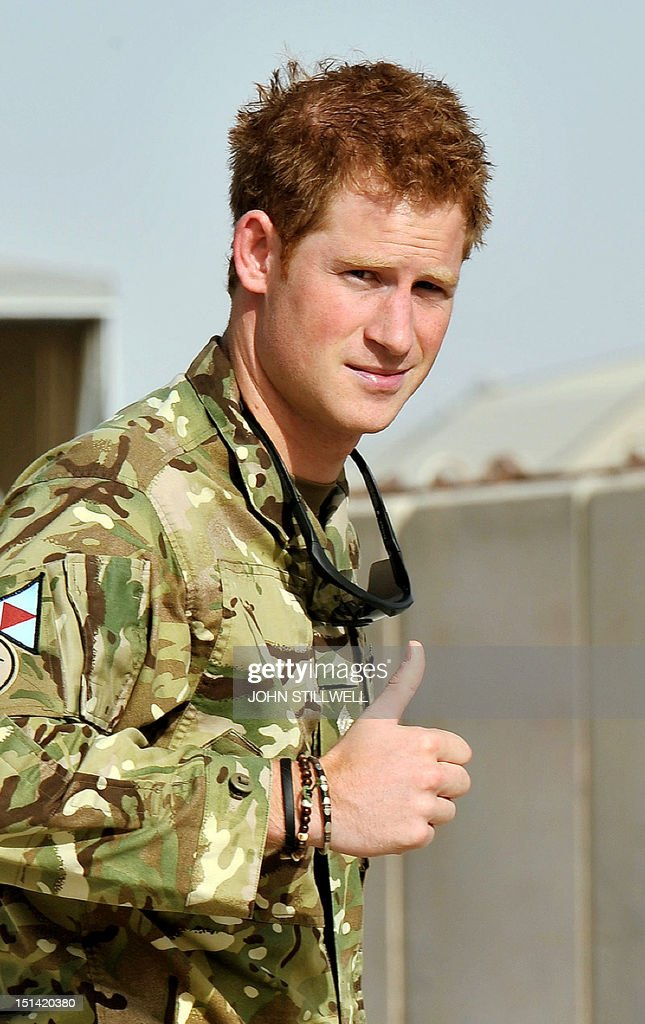 Britain's Prince Harry gives the thumbs up upon his arrival at Camp Bastion in Afghanistan, on September 7, 2012. Britain's Prince Harry is back in Afghanistan to serve as a military helicopter pilot four years after his previous deployment there had to be cut short, the Ministry of Defence said on Friday.