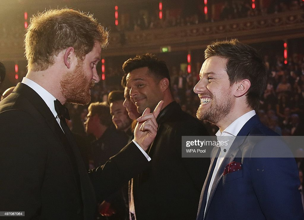 Britain's Prince Harry greets Chris Ramsey after the Royal Variety Performance at the Albert Hall on November 13, 2015 in London, England.