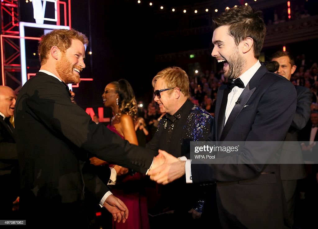 Britain's Prince Harry greets comedian Jack Whitehall after the Royal Variety Performance at the Albert Hall on November 13, 2015 in London, England.