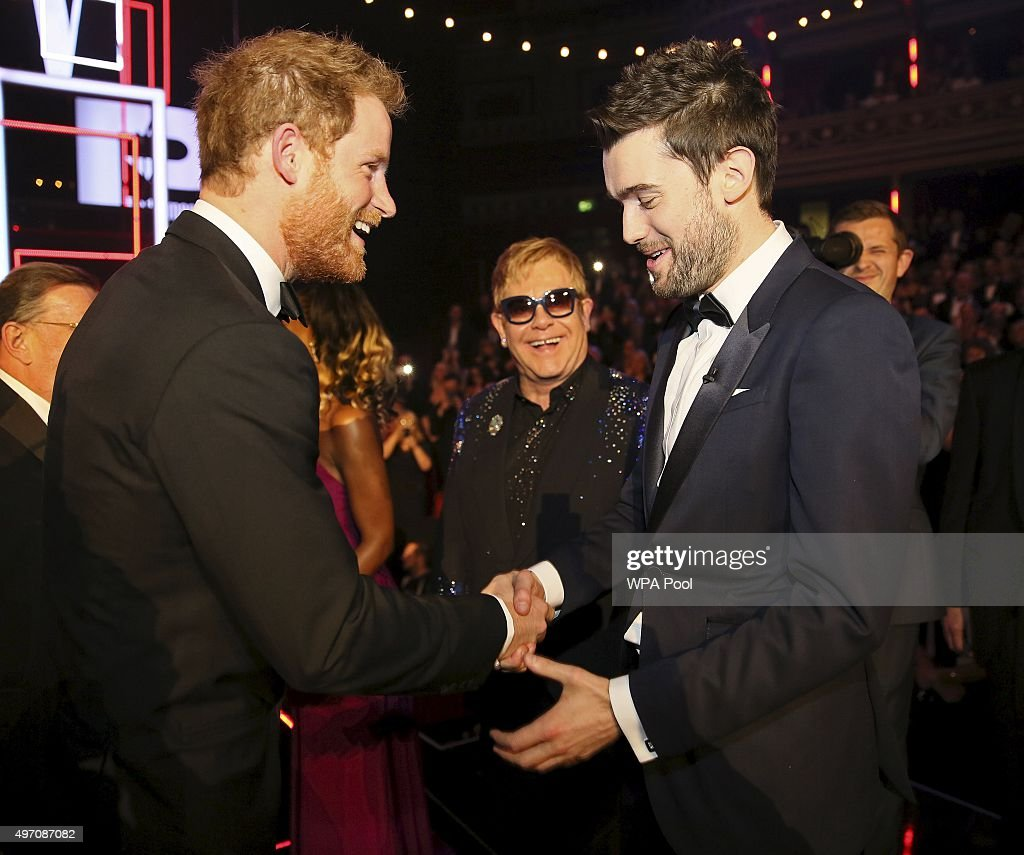 Britain's Prince Harry greets Jack Whitehall after the Royal Variety Performance at the Albert Hall on November 13, 2015 in London, England.