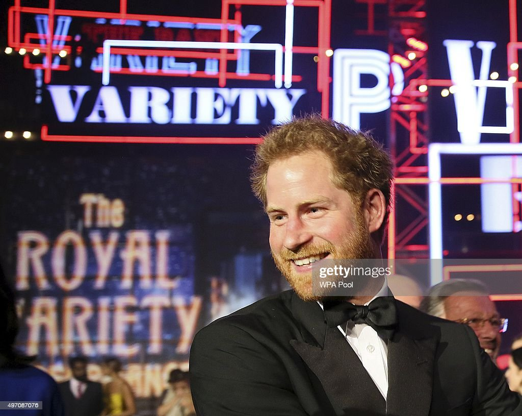 Britain's Prince Harry on stage after the Royal Variety Performance at the Albert Hall on November 13, 2015 in London, England.