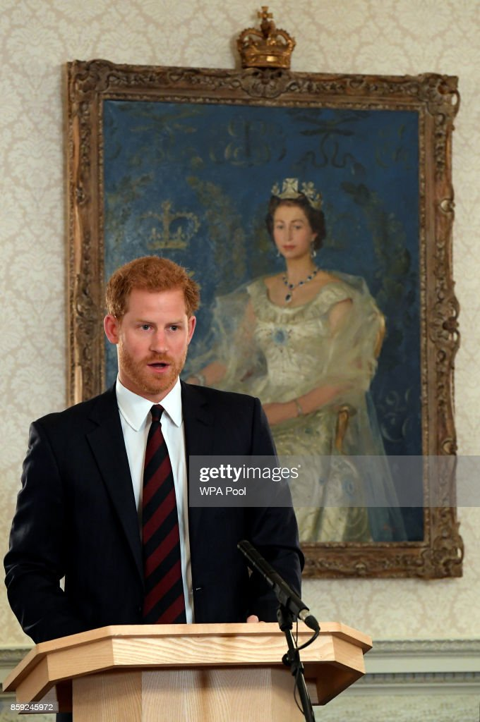 Britain's Prince Harry speaks at an event on mental health at the Ministry of Defence (MoD) on October 9, 2017 in London, England.