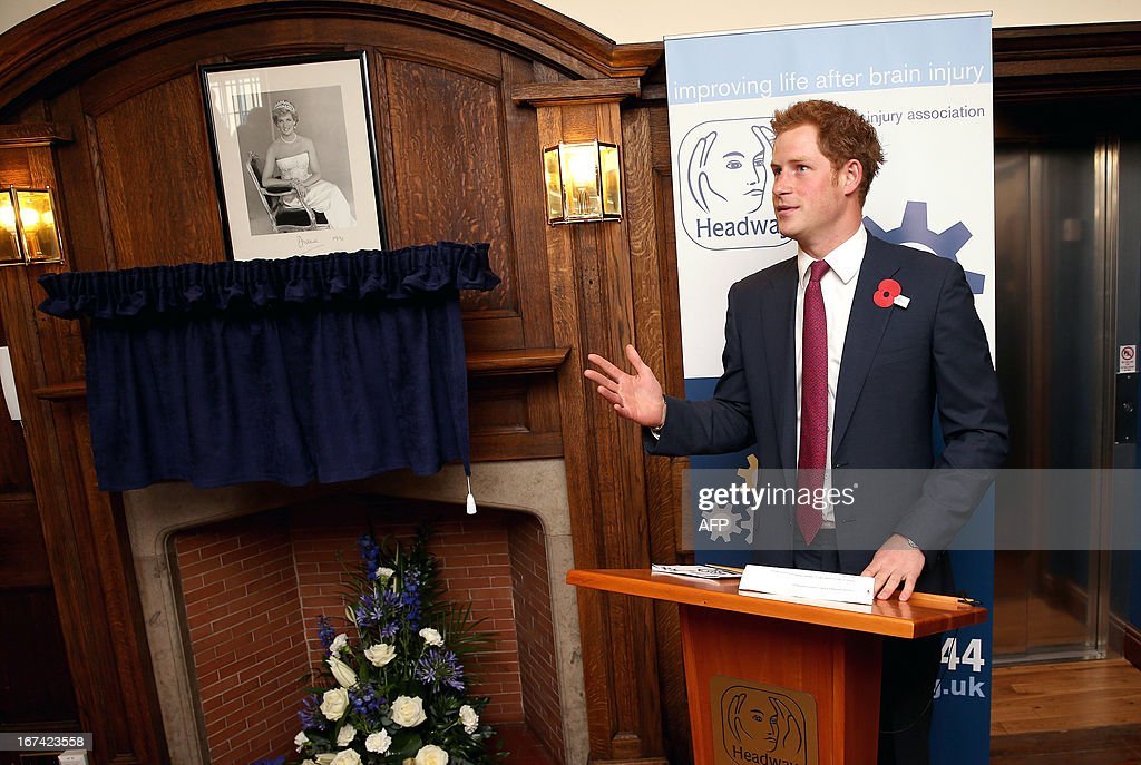 Britain's Prince Harry speaks during a visit to the Headway brain injury association as he officialy opens the Bradbury House, the charity's new headquarters, in Nottingham on April 25, 2013.