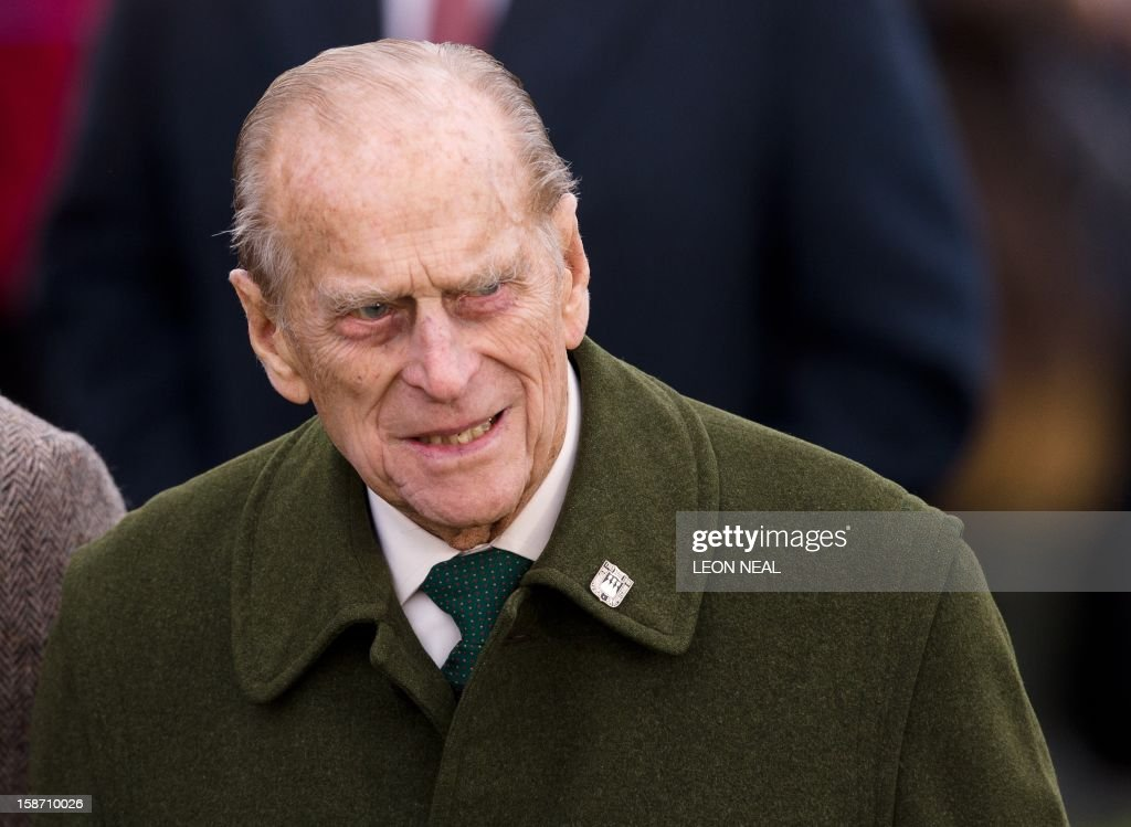 Britain's Prince Philip, Duke of Edinburgh arrives for the Royal family Christmas Day church service at St Mary Magdalene church in Sandringham, Norfolk, in the east of England, on December 25, 2012.