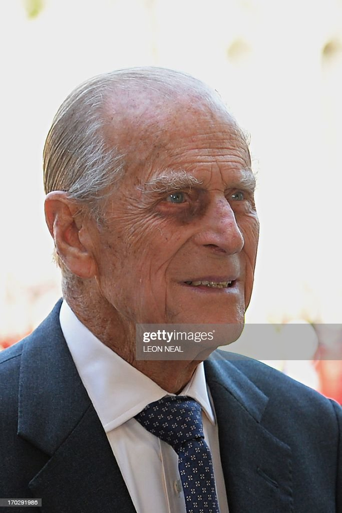 Britain's Prince Philip, husband of Queen Elizabeth II, arrives at Westminster Abbey in London, on June 4, 2013, for a service to celebrate the 60th anniversary of the Coronation Service. Britain's Queen Elizabeth II, now 87, took the throne on February 6, 1952 upon the death of her father king George VI, but to allow for a period of national mourning she was only crowned on June 2, 1953 in London's Westminster Abbey. AFP PHOTO/Leon Neal