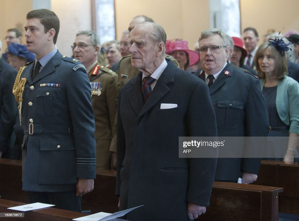 Britain's Prince Philip the Duke of Edinburgh (C )attends a service marking the 175th anniversary of the Soldier's and Airmen's scripture Association at the Guards Chapel in London on March 14, 2013. L-R (front row only) The Reverand Jonathan Woodhouse, Colonel Edward Armistead, Air Commodore Ben Laite, Vice President Sir Lawrence New, Duke of Edinburgh, General Lord Dannatt, Major General Morgan Llewellyn, Chairman Brigadier Ian Dobbie and The Venerable Ray Pentland RAF
