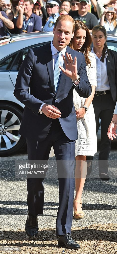 Britain's Prince William and his wife Catherine enter the Sydney Royal Easter Show in Sydney on April 18 2014 William his wife Kate and their son...