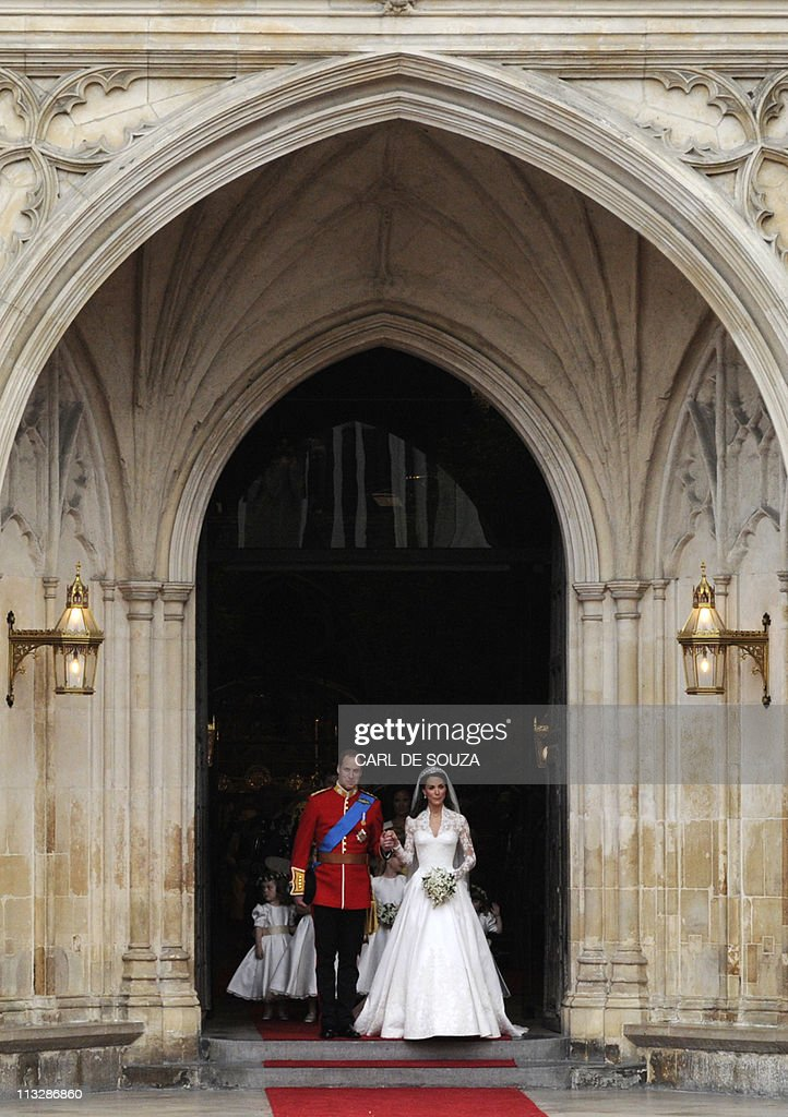 Britain's Prince William and his wife Kate, Duchess of Cambridge, come out of Westminster Abbey in London, after their wedding service, on April 29, 2011.